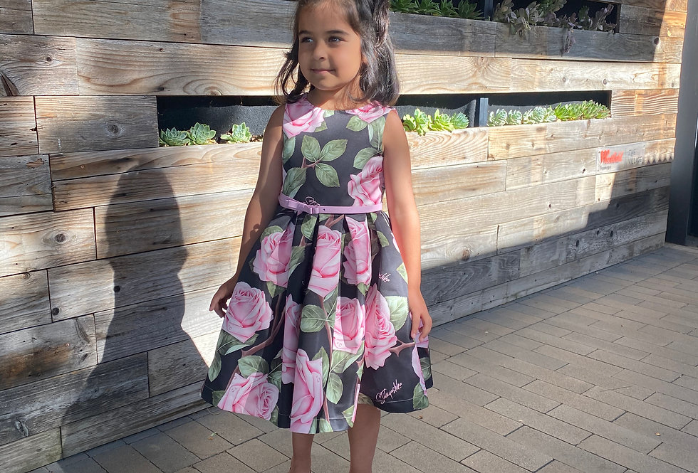 Stilnyashka Pink Flower Dress For Girls