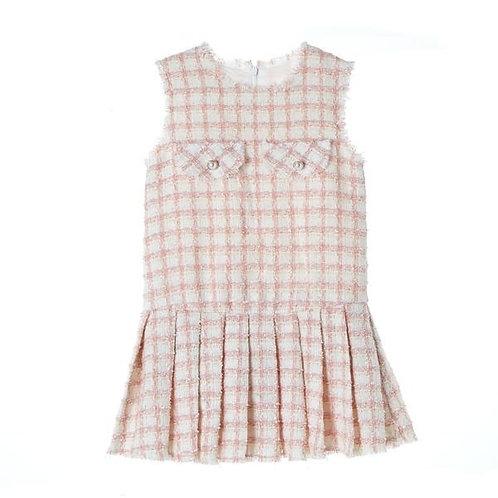 Pink Pleated Tweed Dress