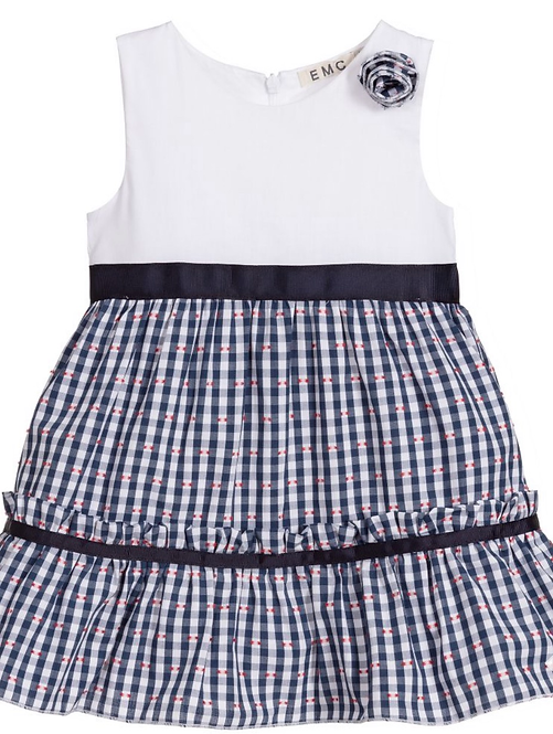 Blue Check Baby Dress Set