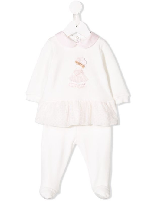 embroidered ruffle tracksuit set