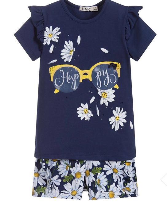 Blue Daisies Cotton Shorts Set