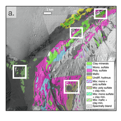 A subset of the mineral map of Mt. Sharp based on newly processed CRISM images. (Sheppard et al., 2020)