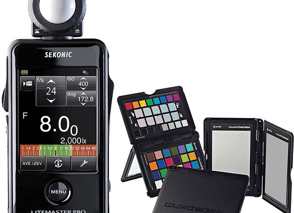 Sekonic Lightmaster Pro L-478D light meter with Xrite Color Checker Passport