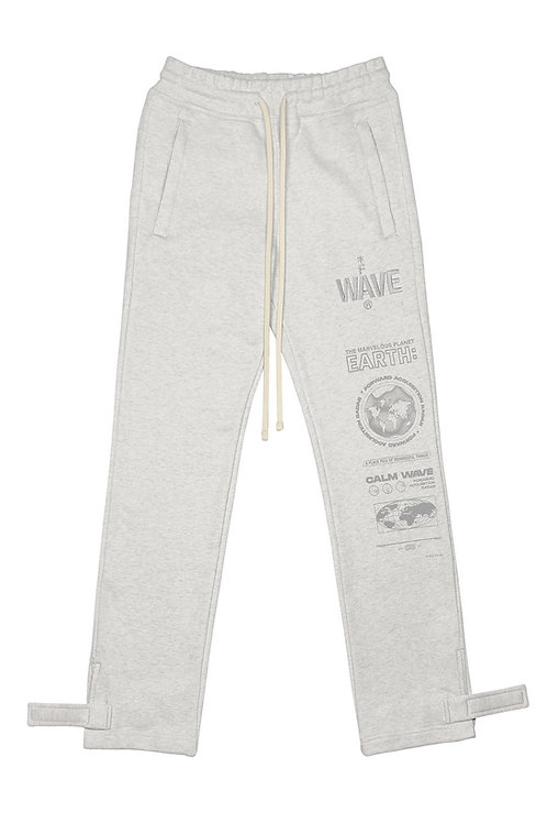 FAR FROM WHAT Printed Cloud Strap Sweatpants Ash Gray