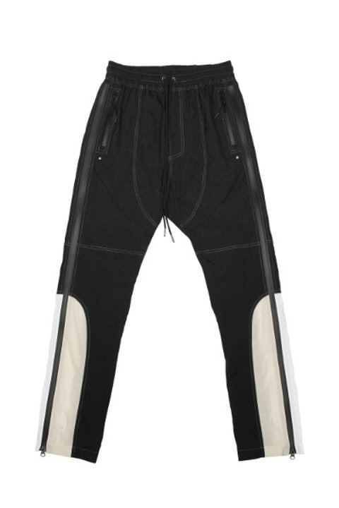 FAR FROM WHAT Side-Z Nylon Color Block Track Pants Black