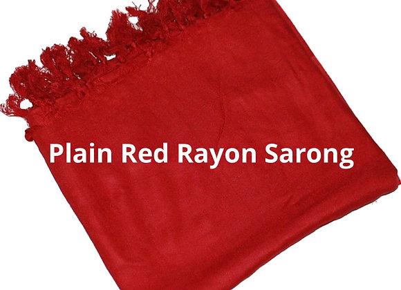 Plain Red Rayon Sarong