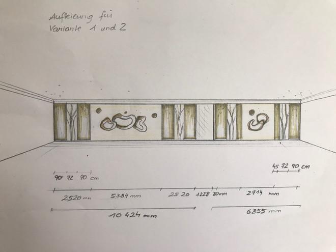 Skizze für die Gestaltung im Restaurantbereich Hotel Mönichwalderhof