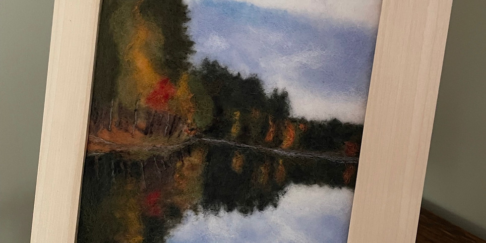 Needle Felted Landscape -Autumn at Cranberry Pond