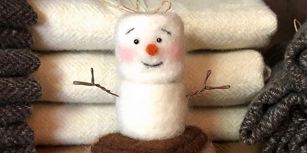 Needle Felted S'mores Snowman Ornament