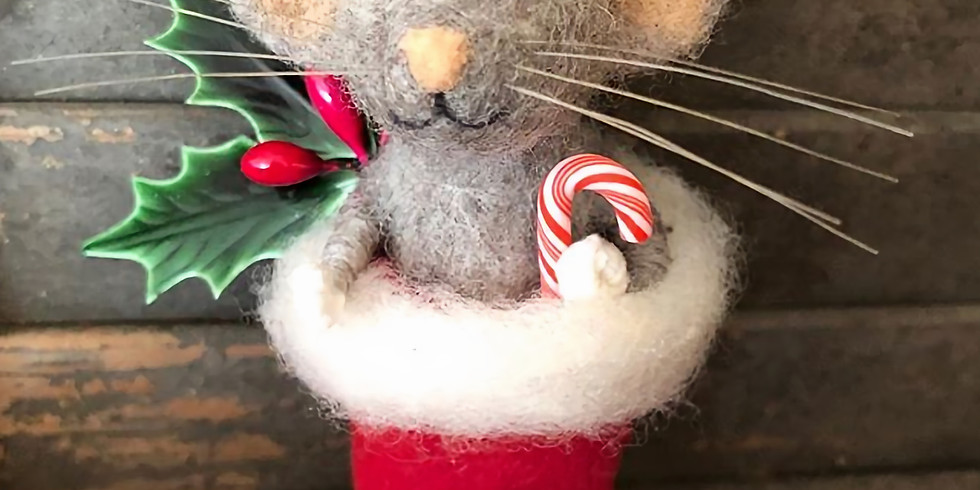 Needle Felted Mouse in Stocking Ornament