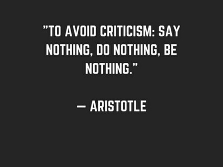 Develop an artist's view to handle criticism