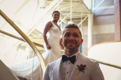 Bride & Groom On Staircase - First Look