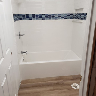 Bright colorful bathroom remodel