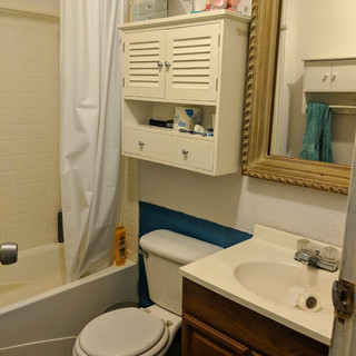 Bright colorful bathroom remodel before