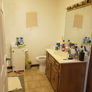 Custom tile walk in shower with bench before
