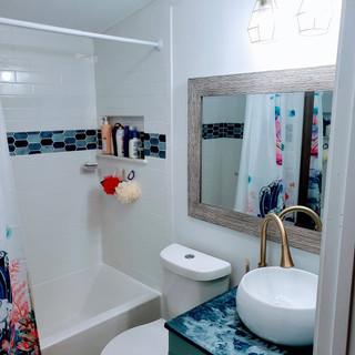 Bright kids bathroom remodel