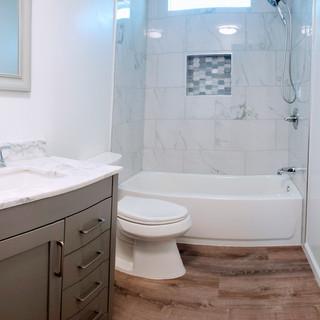 Tile tub surround bathroom remodel