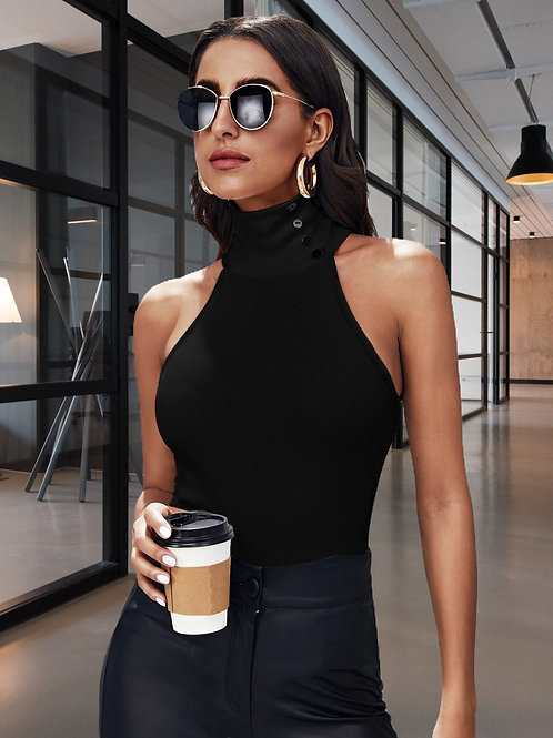Buttoned Neck Halter Top