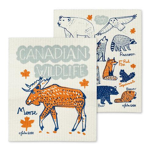 Canadian Wildlife Dish Cloths. Set of 2