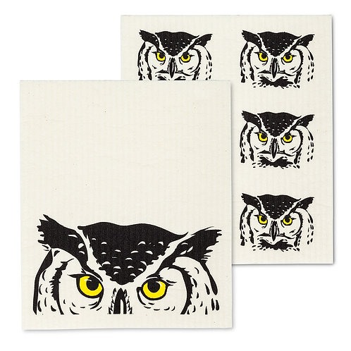 Peeking Owl Dish Cloths. Set of 2