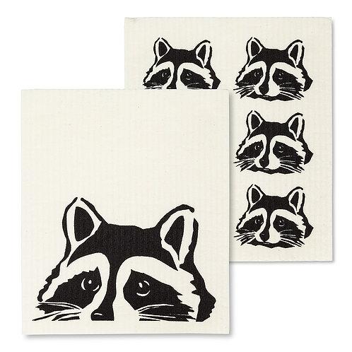 Peeking Raccoon Dish Cloths. Set of 2