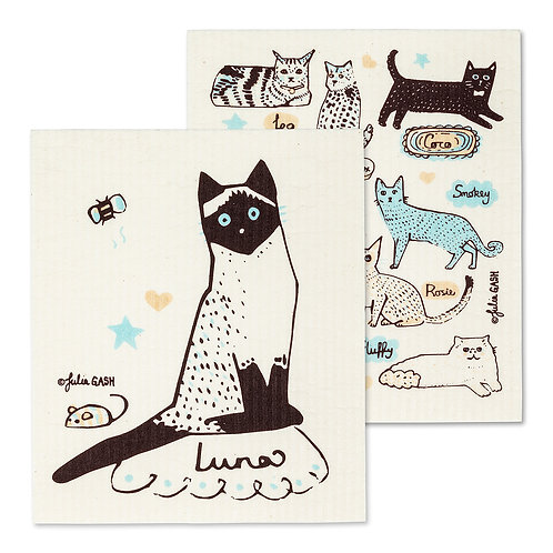 Cats with Names Dish Cloths. Set of 2
