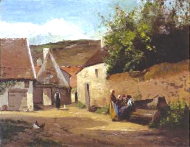 Village Scene, Women Chatting, 1863, Private collection, PDRS 70 by French Impressionist artist, Camille Pissarro