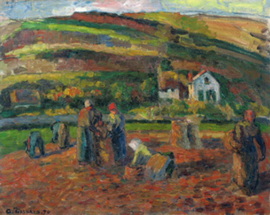 Harvesting Potatoes, Pontoise, 1874, Private collection, PDRS 360. by French Impressionist artist, Camille Pissarro