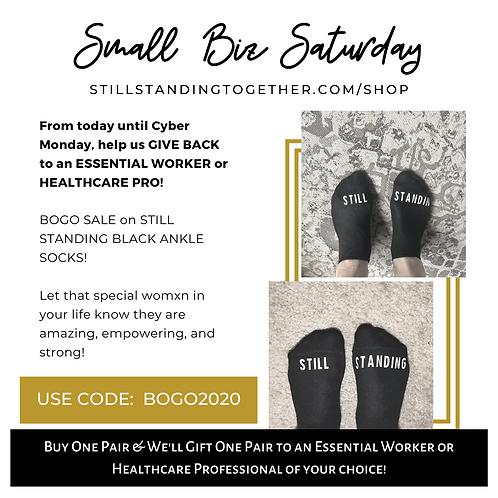 BOGO SALE! Womxn Black Ankle Socks (Buy One, Gift One)
