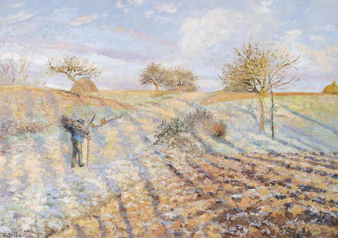 Hoar-Frost at Ennery, 1873, Musée d'Orsay, Paris, France, PDRS 285 by French Impressionist Artist, Camille Pissarro
