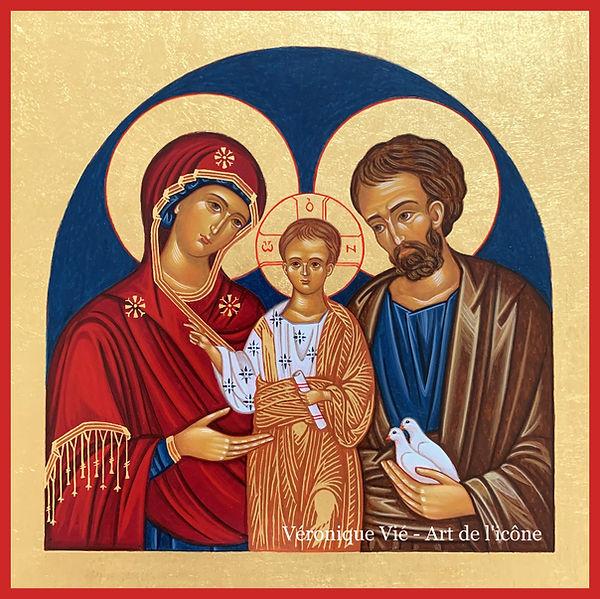 icône Sainte Famille Véronique Vié Art de l'icône Joseph Marie Jésus Christ Mère de Dieu_e