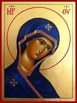 icône de la Mère de Dieu Vierge de l'intercession art de l'icône véronique Vié