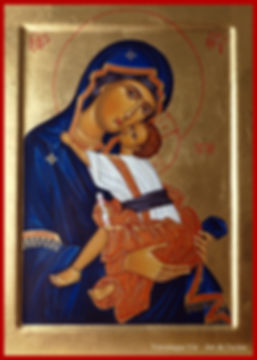 Mère de Dieu Eleousa Vierge de tendresse Art de l'icône Véronique Vié