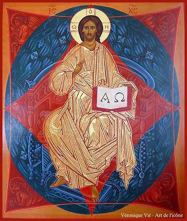 icône Christ en gloire tétramorphe anges véronique vié art de l'icône