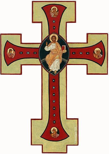 icône Christ en gloire croix tétramorphe Jésus
