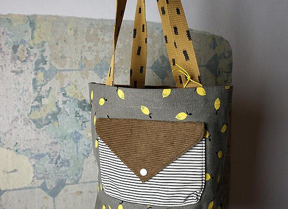 Sticky Lemon, Einkaufstasche aus Samt und Canvas - Pigeon Blue, Green, Gold