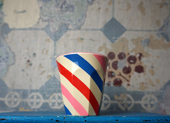 Rice, Medium Melamin Becher, Candy Stripes Print, Two Tone