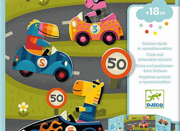 Djeco, Dicke und positionierbare Sticker - Autos