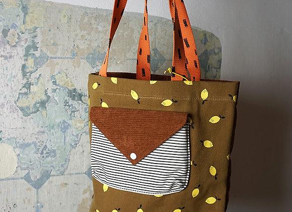 Sticky Lemon, Einkaufstasche aus Samt und Canvas - Dijon, Gingerbread, Orange