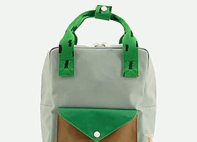 Sticky Lemon, Small backpack sprinkles envelope - steel blue, apple green