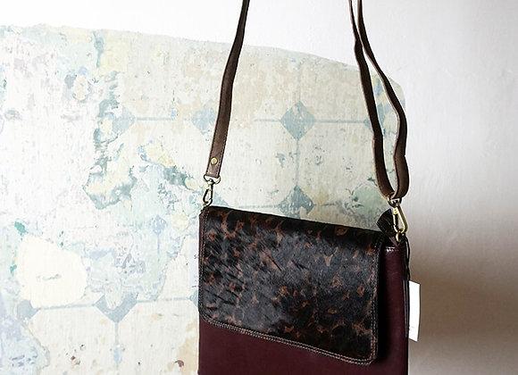 Soruka, Tasche - Yvette Print Leather Bag, Aubergine/Fell
