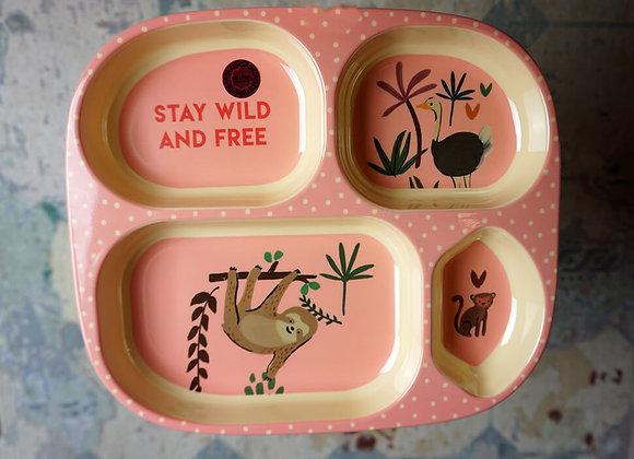 Rice, Melamin Kinderteller mit 4er Einteilung - Pink, Jungle Animals Print