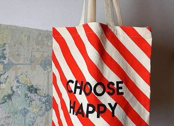 Rice, Baumwolltasche - Choose Happy, Rote Streifen