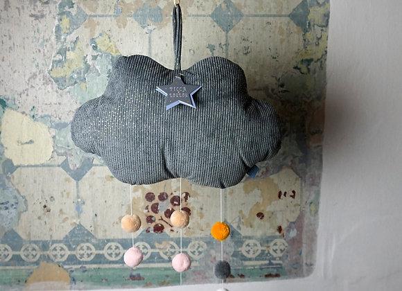 Picca Loulou, Graues Wolken Mobile aus Cordsamt mit Pompoms