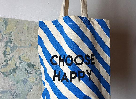 Rice, Baumwolltasche - Choose Happy, Blaue Streifen