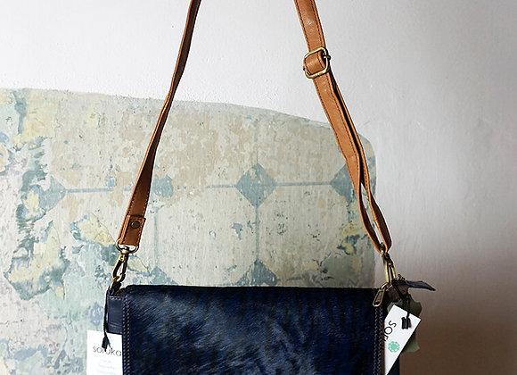 Soruka, Tasche - Yvette Print Leather Bag, Dunkelblau/Fell