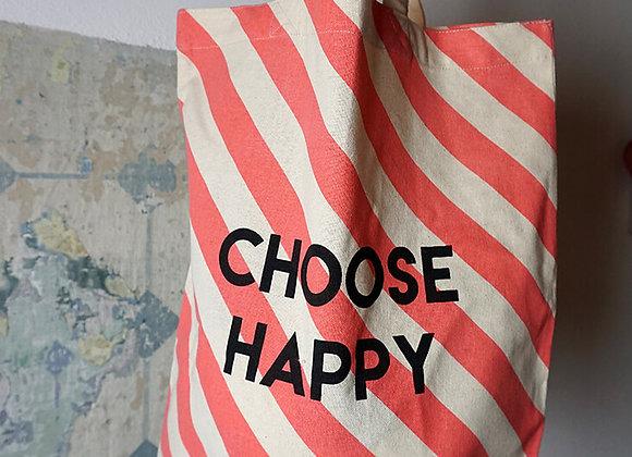 Rice, Baumwolltasche - Choose Happy, Pinke Streifen