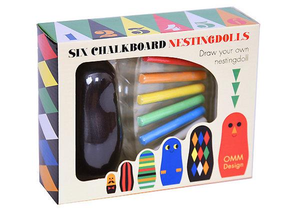 OMM Design, Kreide-Matruschka-Set - Six Chalkboard Nestingdolls