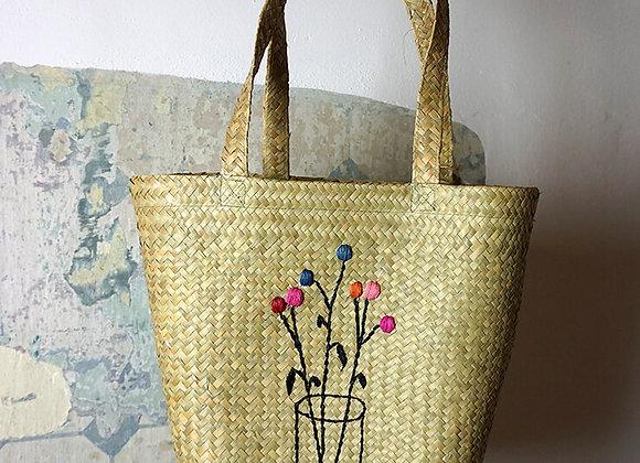 Rice, Raffia Einkaufstasche - Blumendesign
