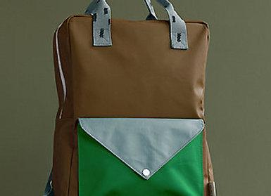 Sticky Lemon, Large backpack sprinkles, envelope - brassy green, apple green